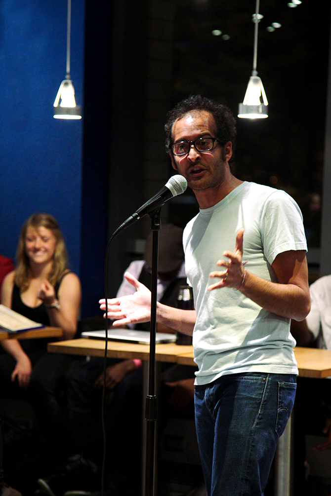 SARA LU. Mojgani is the kind of guy who'd thrive in conversations punctuated by moments of awkward silence.
