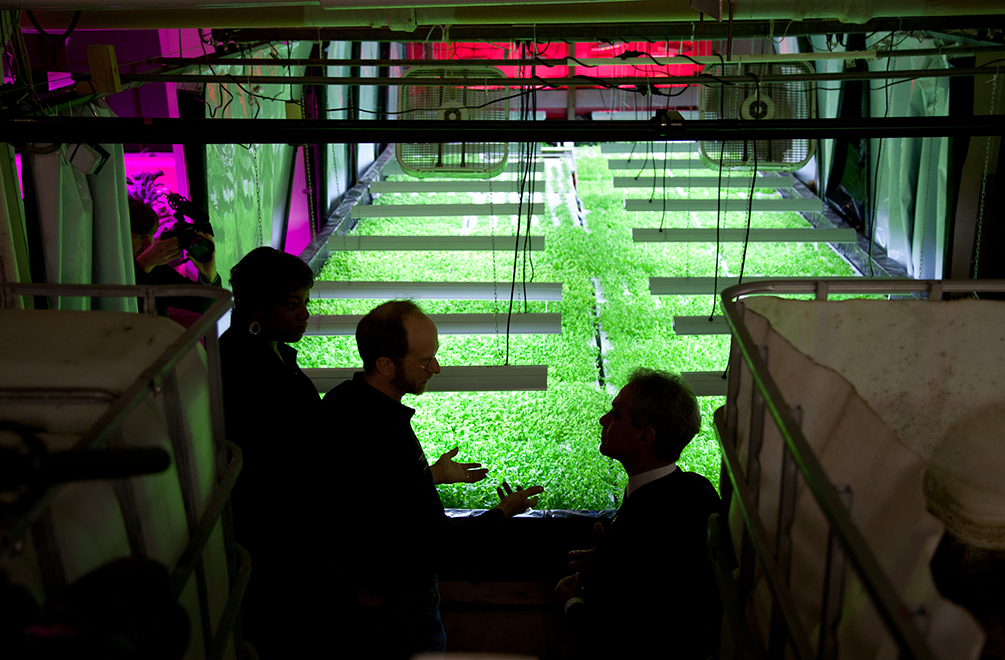 PLANT CHICAGO, NFP/RACHEL SWENIE. Mayor Rahm Emanuel tours the growing system at The Plant, an urban agriculture organization in Back of the Yards.
