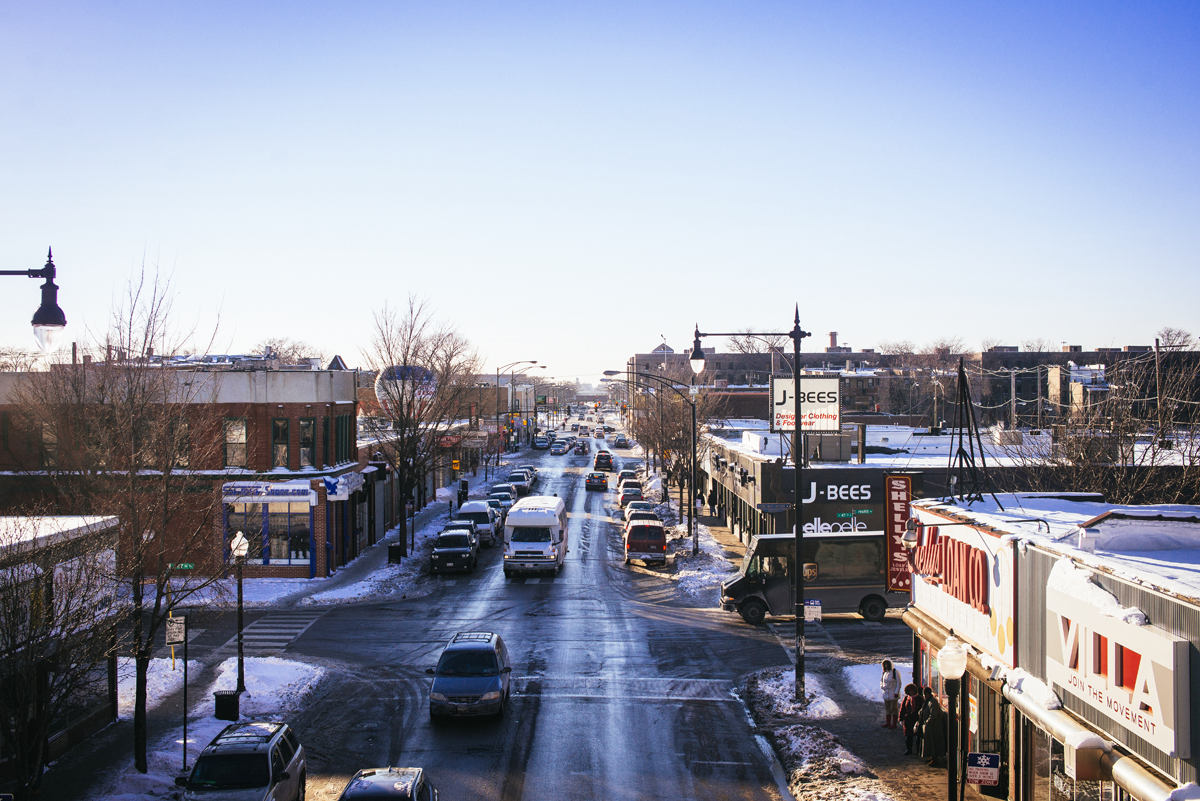 47th and Prairie, looking west. The Rosenwald—visible on the horizon, two blocks west on Michigan—could be an economic boon for 47th Street and Bronzeville as a whole. LUKE WHITE.