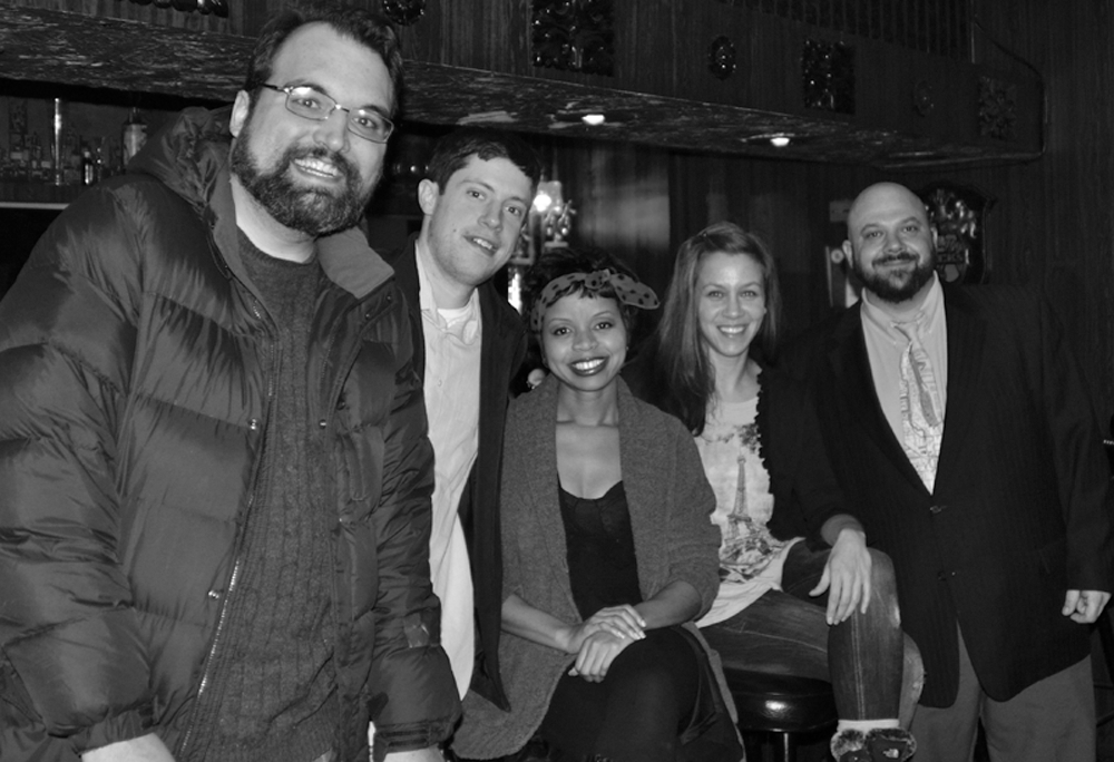 The producers of the Weekly show. From left to right: Dan Shapiro, Robert O'Connor, Angela Oliver, Angelina Marie, and Monte LaMonte.