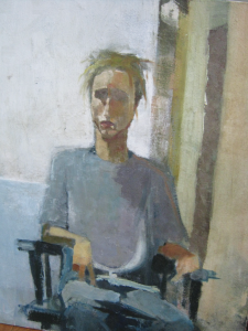 Wyatt's surviving paintings include an unfinished self-portrait, above, and several figurative drafts. COURTESY OF THE MITCHELL FAMILY