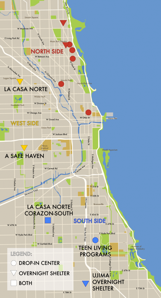 The above map shows the major drop-in centers (daytime) and overnight shelters (nighttime) on the South and West Sides, as well as the locations of the shelters and centers on the North Side. Most drop-in centers are open four or five days a week, most shelters all seven days. The map does not include transitional housing locations. (Wei Yi Ow)