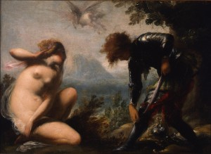 Cecco Bravo, Angelica and Ruggiero, c. 1660, Oil on canvas. Smart Museum of Art, The University of Chicago, Gift of the Samuel H. Kress Foundation, 1973.42