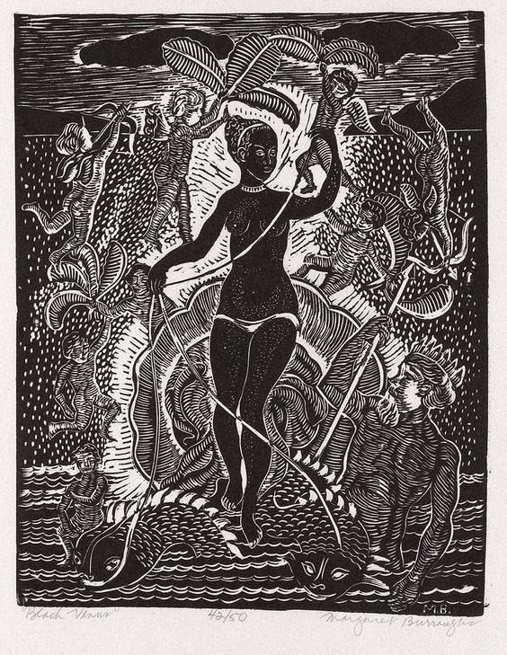 Margaret Burroughs - Black Venus (1957) - Woodcut Tony Smith