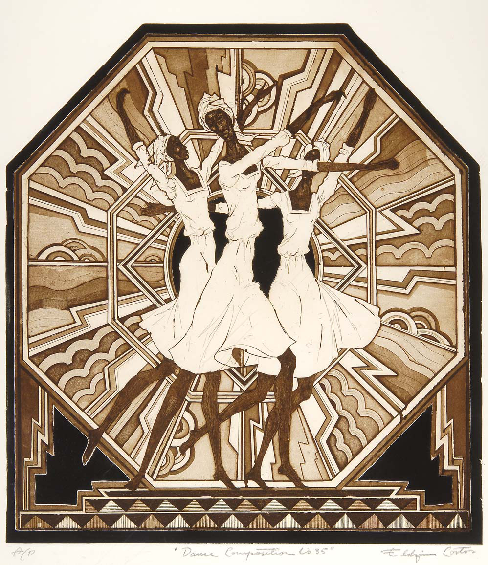 Eldzier Cortor - Dance Competition (1990) - Etching