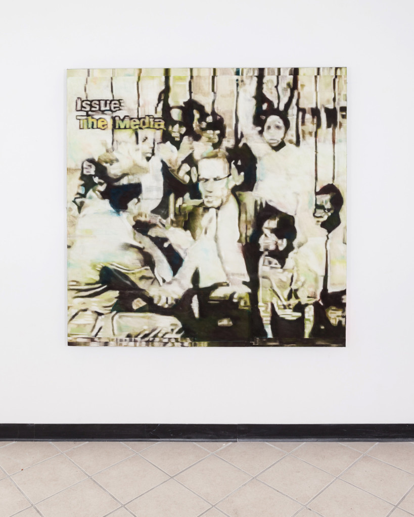 """Malcolm X interviewed along side children, at Intermediate School 201, Harlem, 1964 With vinyl recording of 'Ballots or Bullet' by Malcolm X,"" spray-fixed soft pastel on raw canvas under clear acrylic"