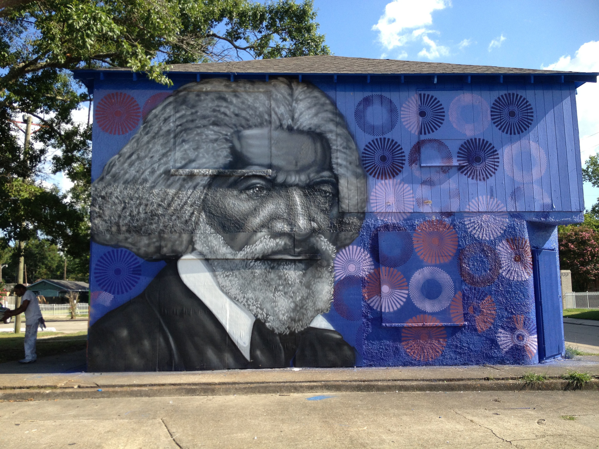 """Frederick Douglass,"" spray paint on concrete, Baton Rouge, Louisana."