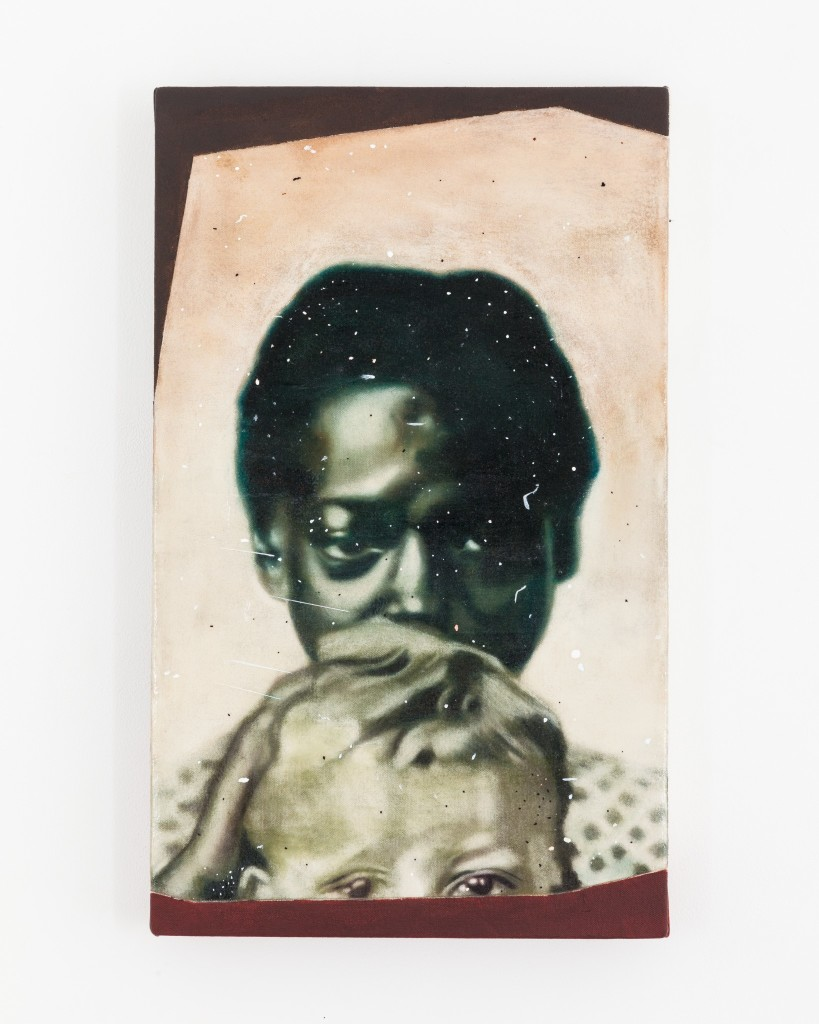 """Drawing After an Ambrotype Of an Enslaved African American Woman called Louisa, Holding H. E. Hayward, ca.1858,"" spray-fixed soft pastel on raw canvas with acrylic"