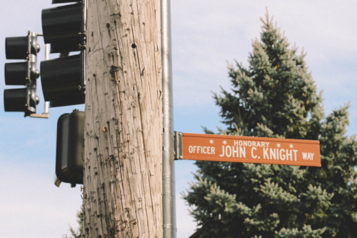 A street near Mt. Greenwood Park was renamed in honor of John C. Knight, a police officer from Mount Greenwood who was killed in the line of duty in 1999. (Kiran Misra)