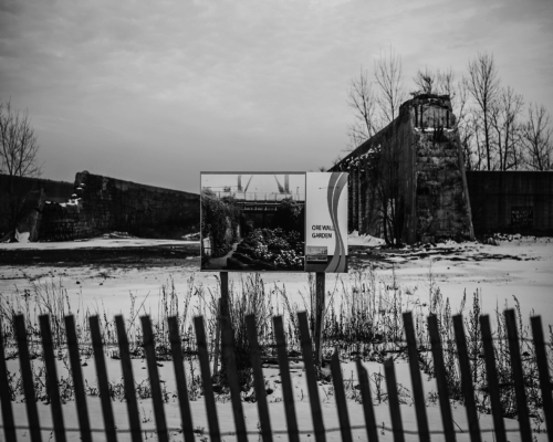 A sign for the scrapped Lakeside Development stands in front of the ore wall of the long-abandoned U.S. Steel site. A full-service Mariano's had been planned as an anchor store for the massive development project. (Luke White)