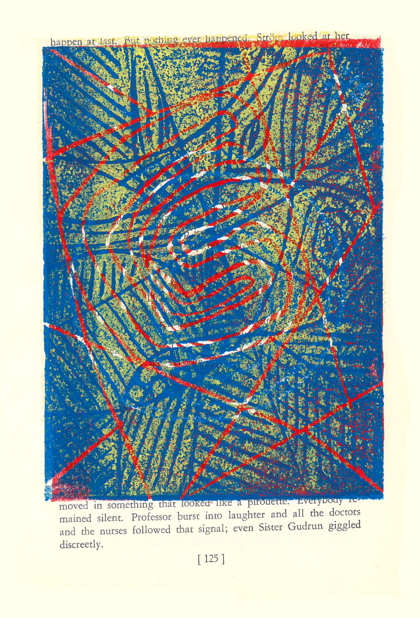 "Three Color Block Print on found book page, February 2017 5.25 X 8.25"" School Programs Workshop at Baker College Prep Jon, 25 years old Animation major at Malcolm X Coming to SkyART for 1 year"