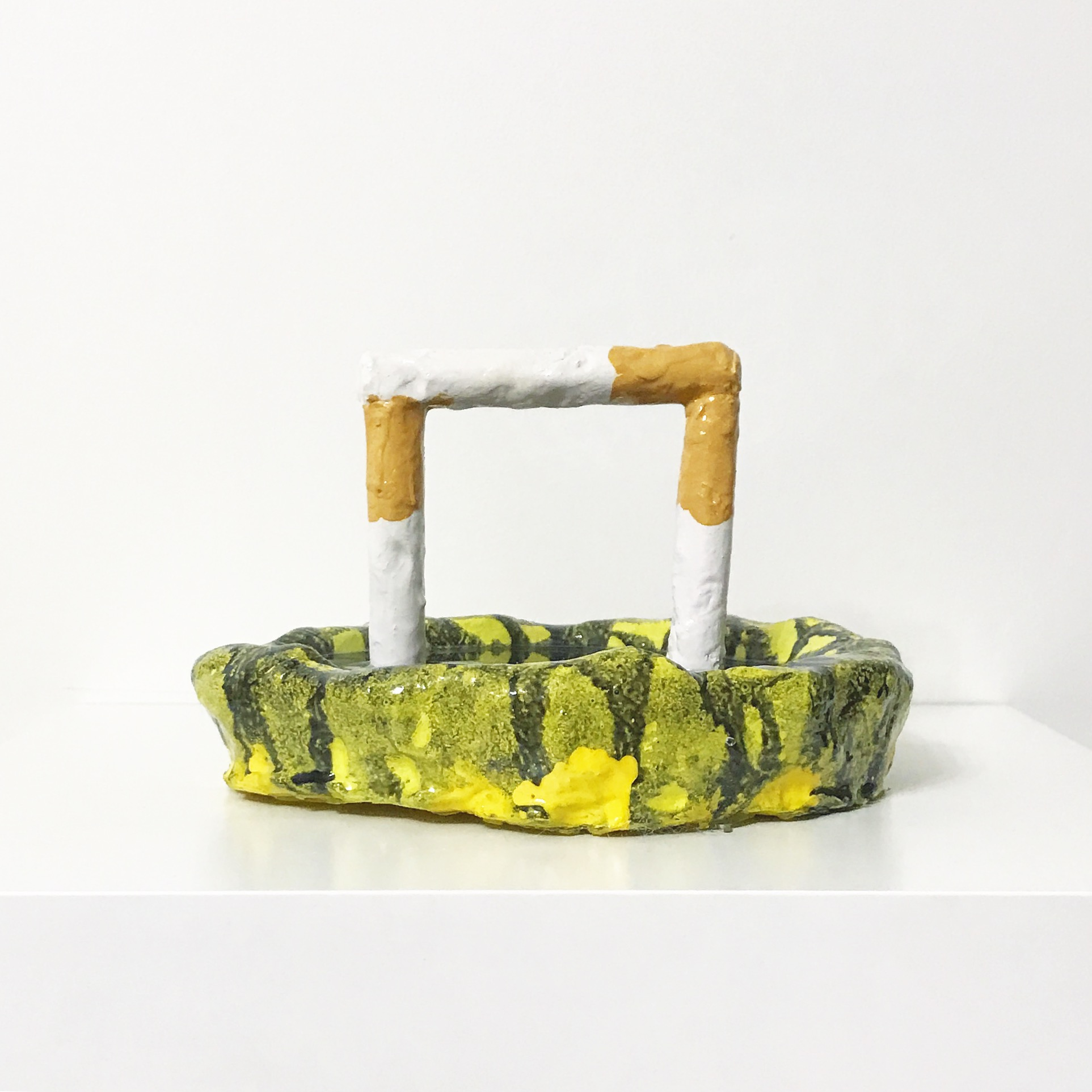 "Louis Kishfy ""Ashtray"", 2017 Epoxy Putty, Resin, Pigment, Spray paint 7"" x 7"" x 5"""