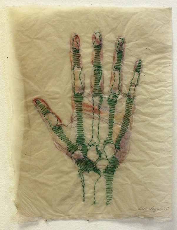 CLAIRE REYNES HAND, 2015 HANDMADE ABACA PAPER, EMBROIDERY THREAD, COLORED PENCIL