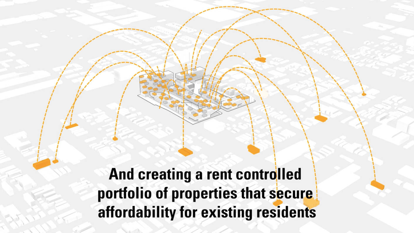 A screenshot from a PMG promotional video for ParkWorks shows a visualization of its plan to spread its affordable housing obligations throughout Pilsen, which critics say would expand its already-sizable proposed footprint in the neighborhood.