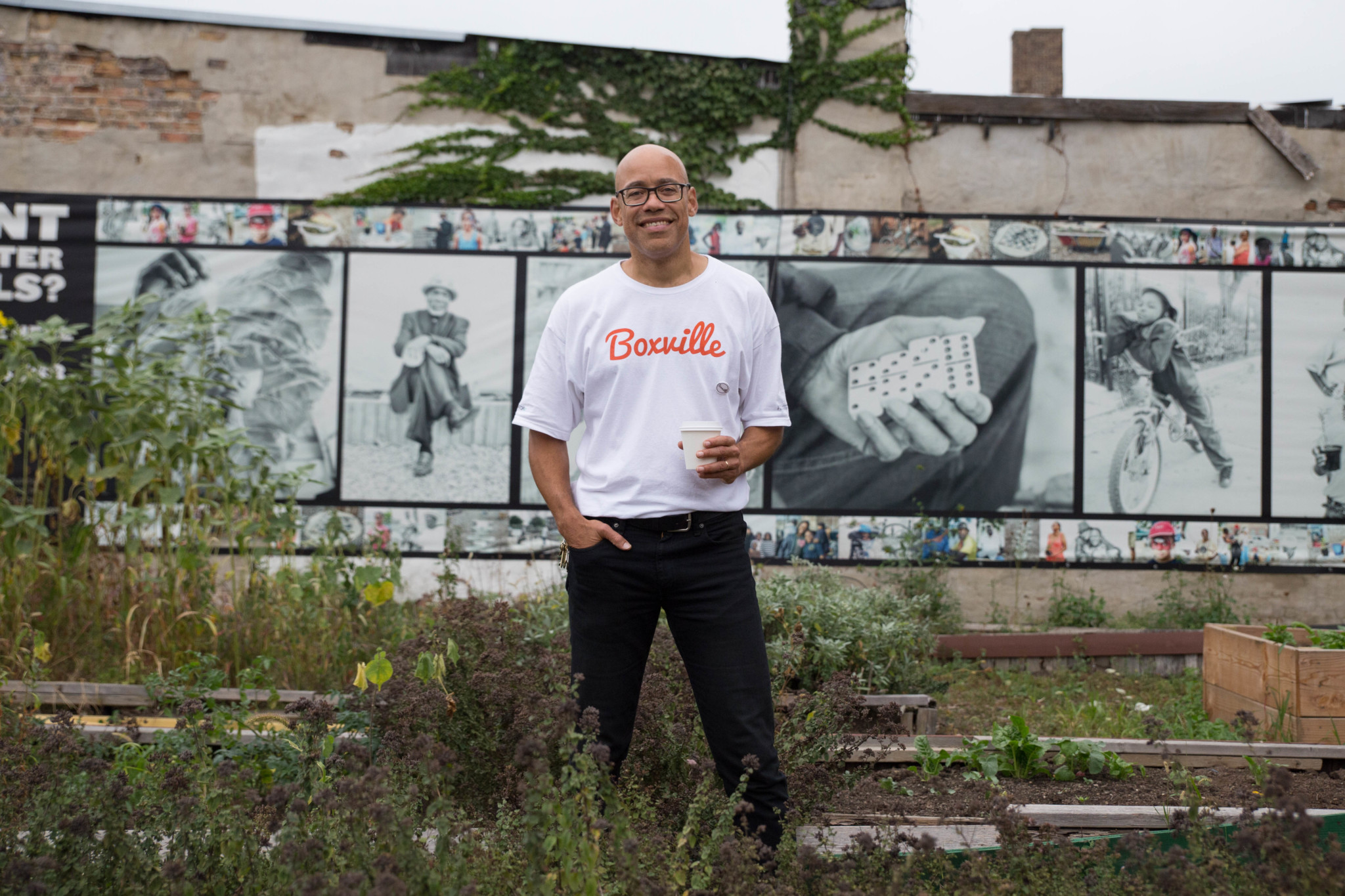 Boxville founder Bernard Loyd in the Bronzeville Community Garden across the street (Jason Schumer)