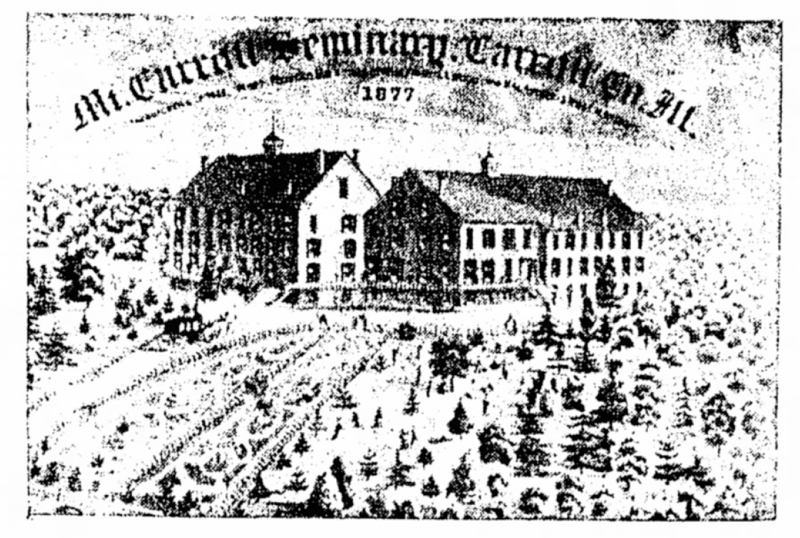 An illustration of the Mount Carroll campus circa 1877 (Freeport Journal-Standard)