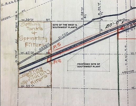 A portion of the City of Chicago 1911 Map of Main Outfall Sewers upon which District engineers positioned planned sewage treatment facilities to serve the west and south sewer districts and the routes of planned intercepting sewers in 1919. The proposed site of the Southwest plant and actual site of both Southwest and West Side plants are added. (Metropolitan Water Reclamation District of Greater Chicago Archives)