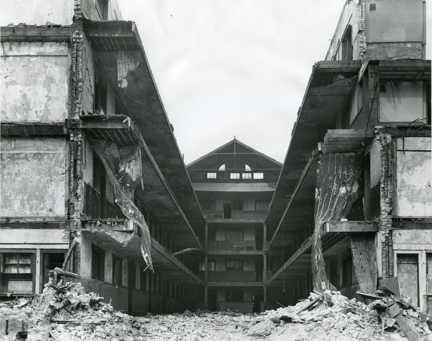 The Mecca Flats, mid-demolition (Courtesy IIT)