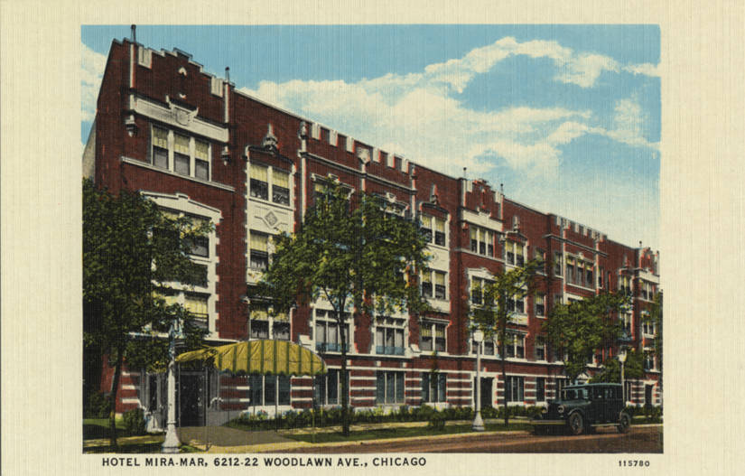 Postcard depicting the Hotel Mira-Mar, which, as of 1929, rented out rooms with a private bath for a weekly rate between $12 and $16, according to an archival Tribune listing (Wikimedia Commons)