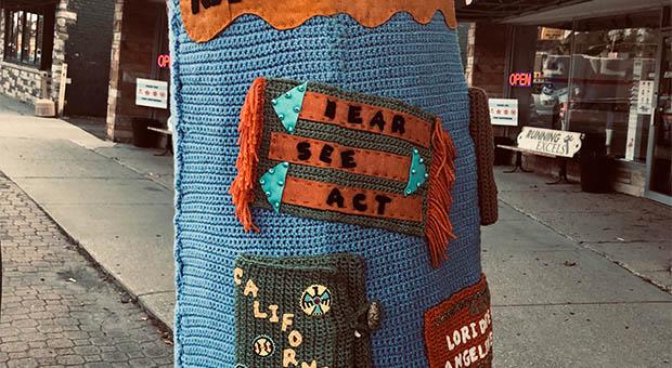 Yarn-based public art honoring and remembering missing indigenous women. Photo: Courtesy of Beverly Area Arts Alliance