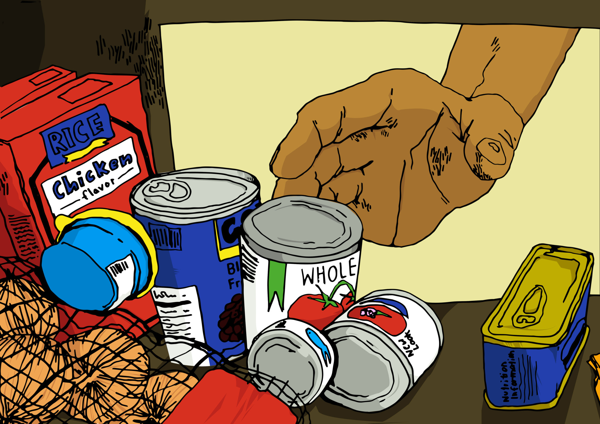 Illustration of hand reaching for canned food by Asia Babiuk