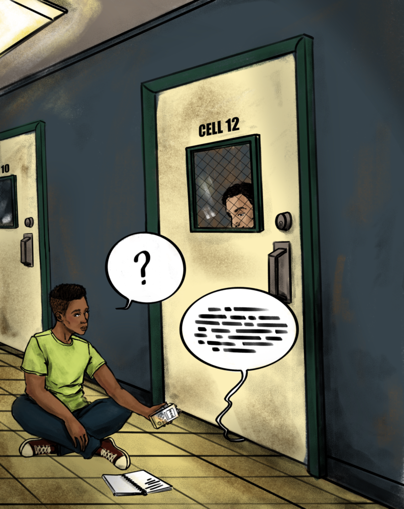 Boy with recorder sits outside prison cell door asking a rpisoner questions.