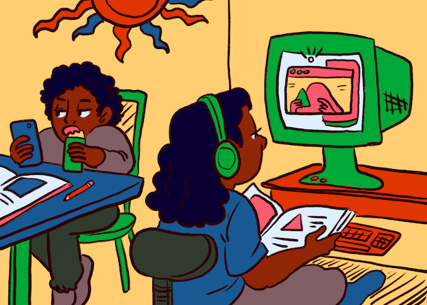 An illustration of two children at desktop computers for remote schooling.