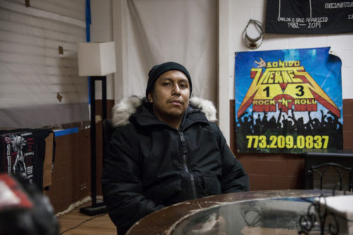 """Tenant Ivan Cruz in his living space at 3200 S Kedzie. When asked about who owns the building and what rights Saint Anthony's Hospital and American Demolition had, he responded, """"really, I don't know what's going on."""""""