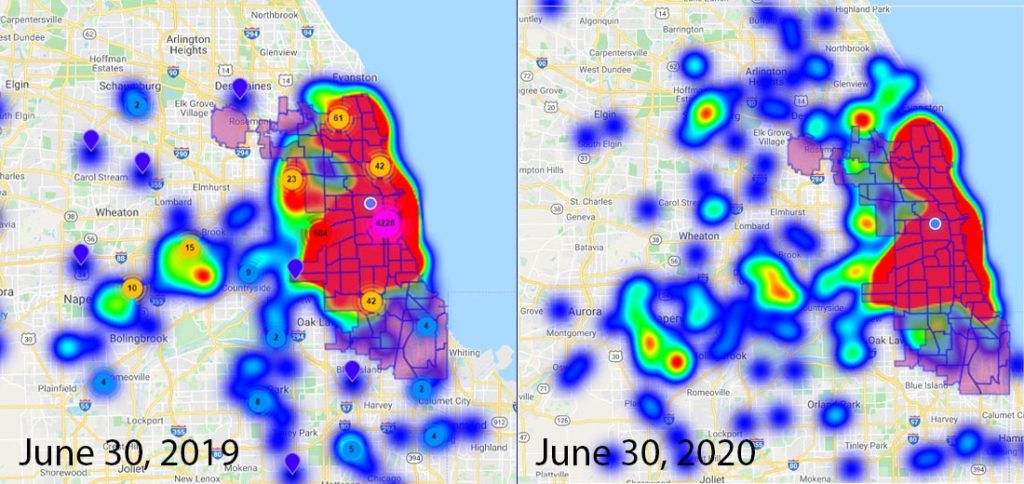 Chicago's Chinese American community continues to move west along Archer Avenue as far as Midway International Airport in the past year, according to heat maps generated by the Chinese American Service League. (Provided by the Chinese American Service League's Center for Social Impact).