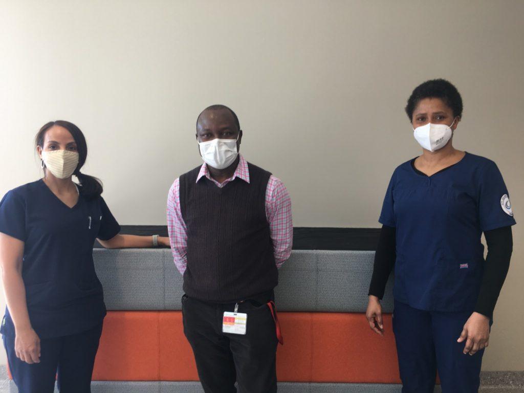 From L to R (nursing student no name, Dr. O, Bukky Fujinmi