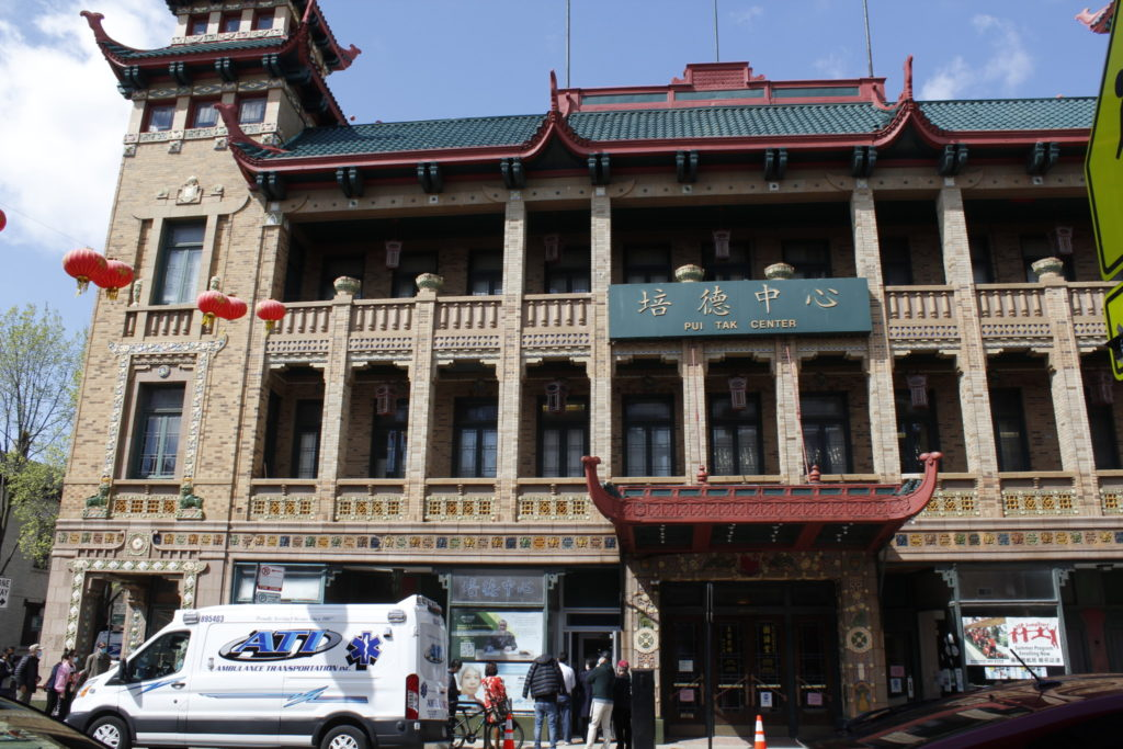 Pui Tak Center, located at the heart of Chinatown, has been hosting vaccination events for Chinese-speaking population since February. (Mallory Cheng/South Side Weekly)