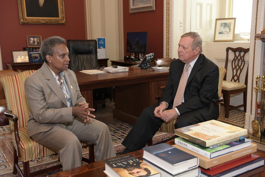 Mayor Lori Lightfoot meets with U.S. Senator Dick Durbin in his Washington, D.C. office in May 2019. Photo: Sen. Durbin press release.