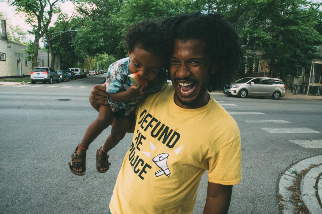 Let Us Breathe cofounder Damon Williams with his nephew, at the Breathing Room in Back of the Yards
