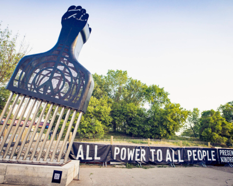 All Power to All People, by Hank Willis Thomas, at Englewood Village Plaza, 5801 S. Halsted. Photos courtesy of Kindred Arts.